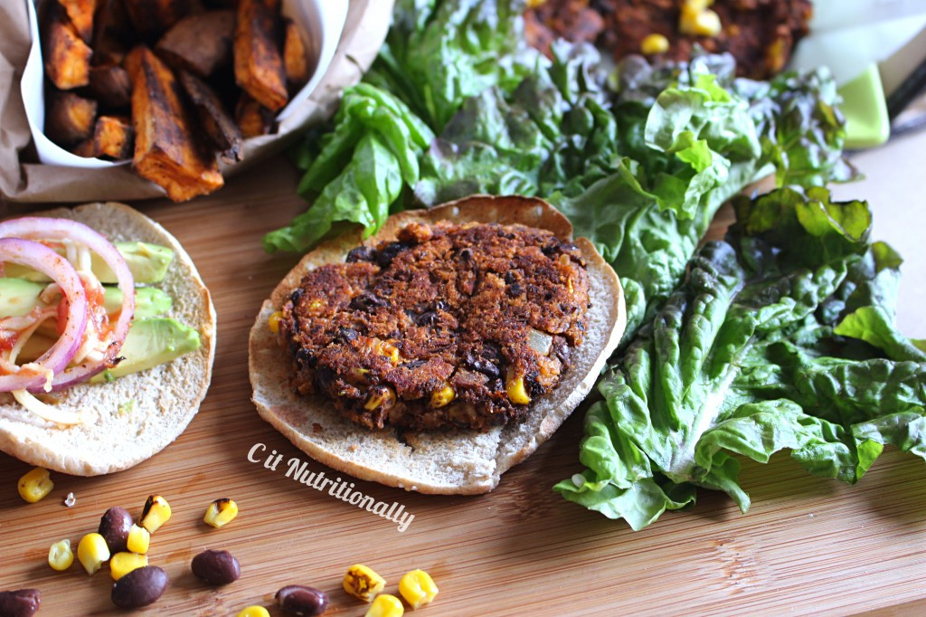 Black Bean Burger with Chili Sweet Potato Fries! | C it Nutritionally #vegan #glutenfree #healthyeating