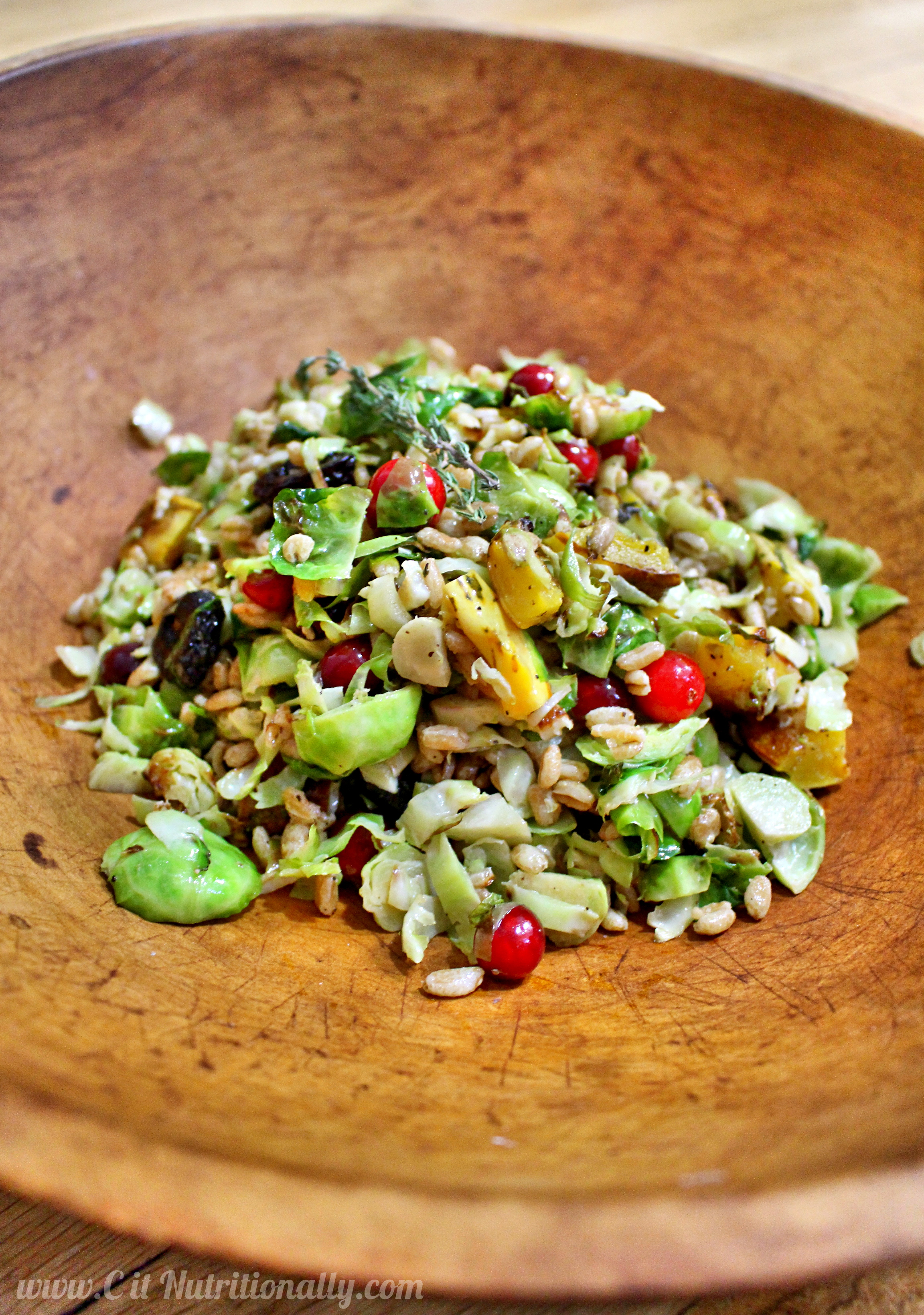 Roasted Brussels Sprouts Salad with Farro, Cranberries, and Squash