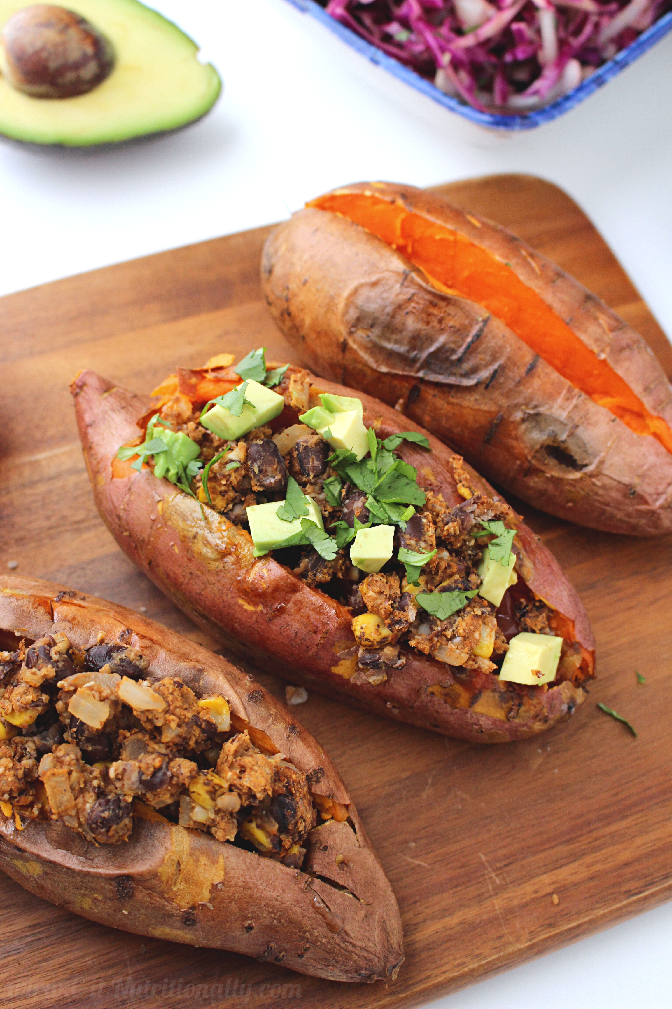 Bean Burger Stuffed Sweet Potatoes with Tangy Cabbage Slaw - C it ...