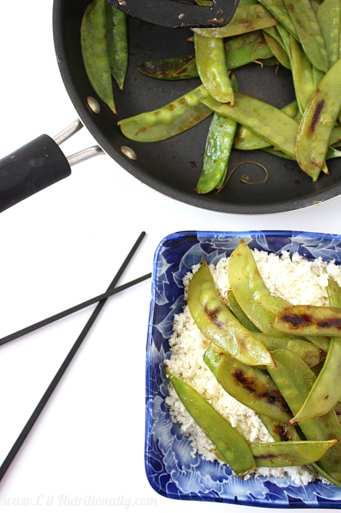 Sauteed Snow Peas with Cauliflower Rice | C it Nutritionally #glutenfree #vegan #sidedish