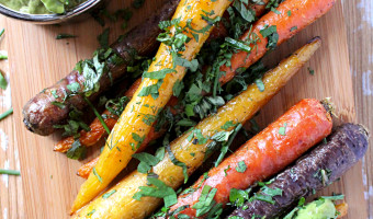 Herb Roasted Carrots with Avocado Dill Dip
