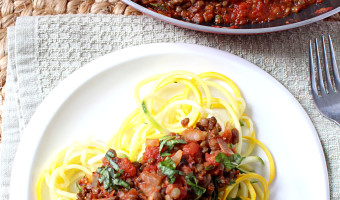 30 Minute Spicy Lentil Bolognese {Vegan, Gluten Free, Grain Free, Dairy Free}