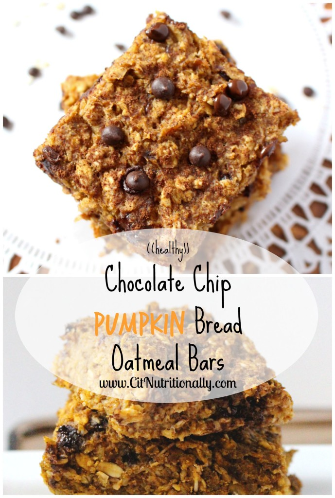 Healthy Chocolate Chip Pumpkin Bread Oatmeal Bars | C it Nutritionally #vegan #glutenfree #dairyfree #eggfree