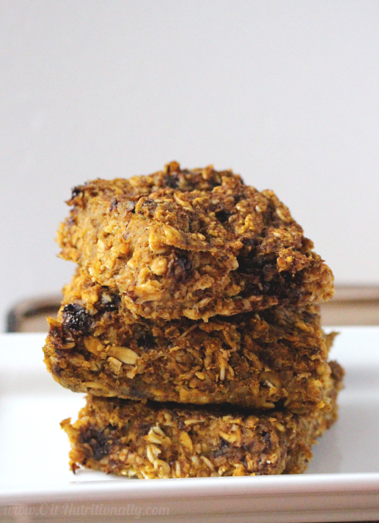 Healthy Chocolate Chip Pumpkin Bread Oatmeal Bars | C it Nutritionally