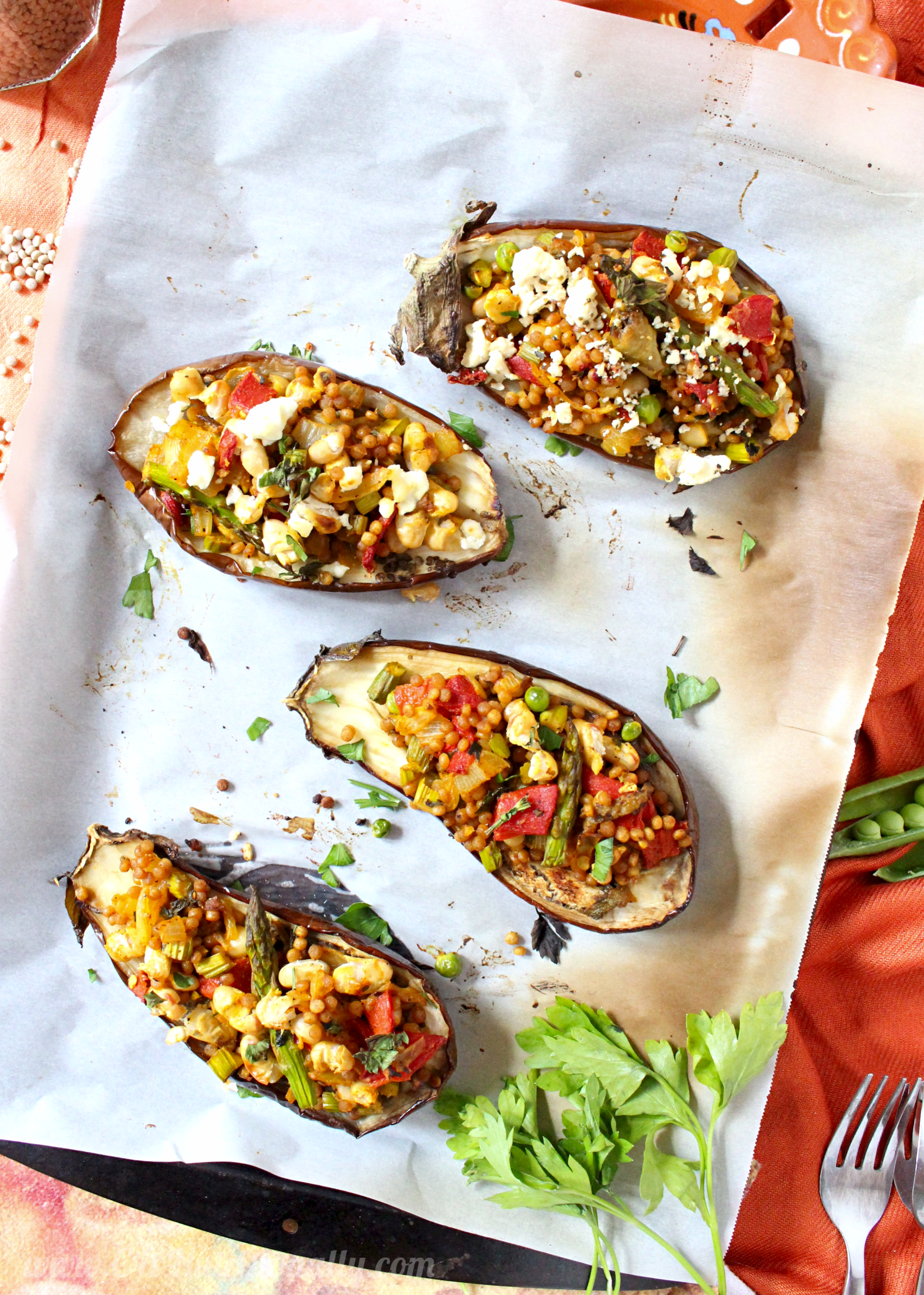Israeli Cous Cous Stuffed Eggplant | C it Nutritionally..