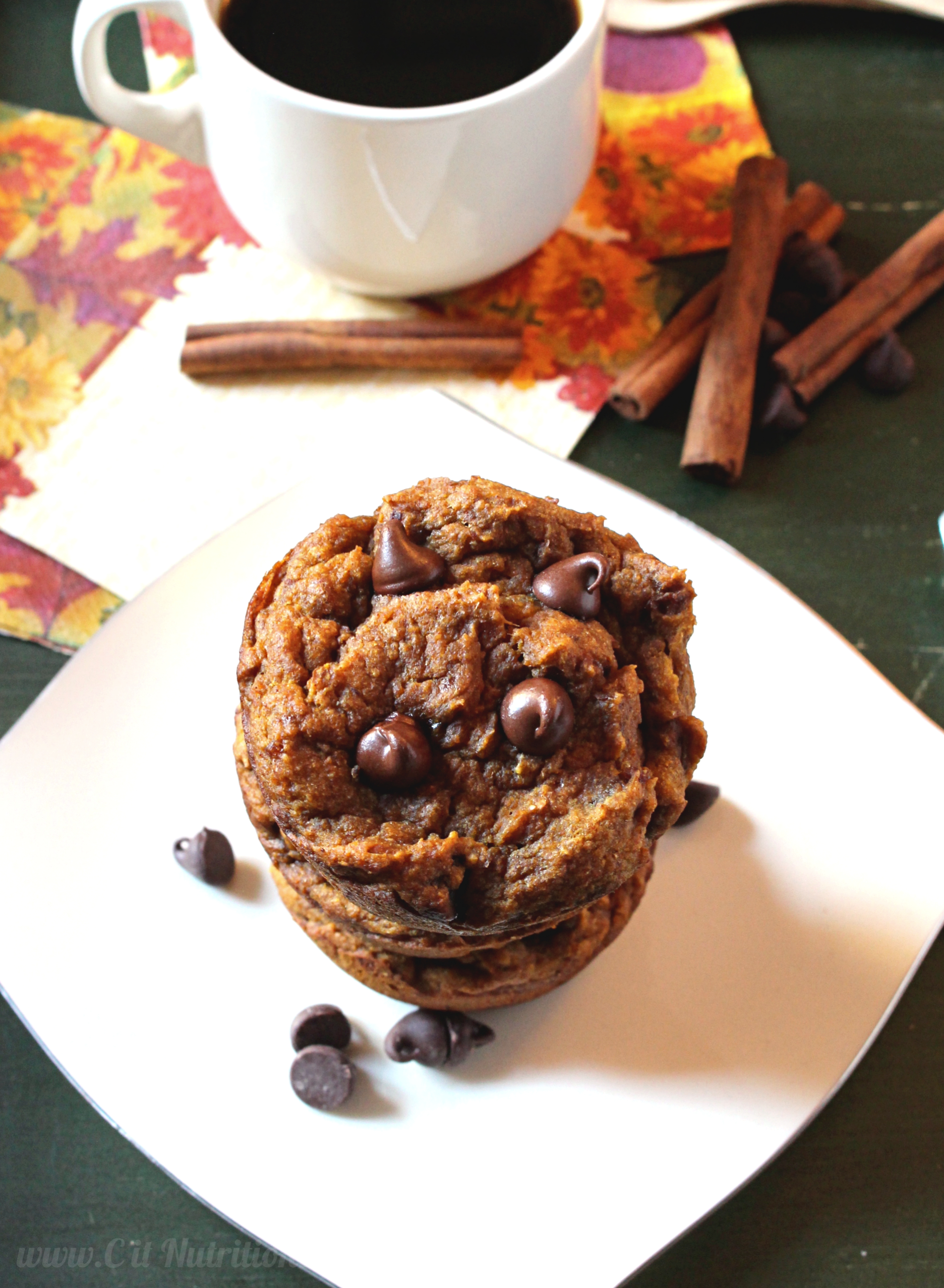 Vegan Chocolate Chip Pumpkin Muffins with No Added Sugar | C it Nutritionally