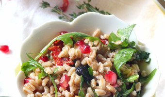 Fall Farro Salad with Pomegranate Seeds and Maple Apple Cider Dressing