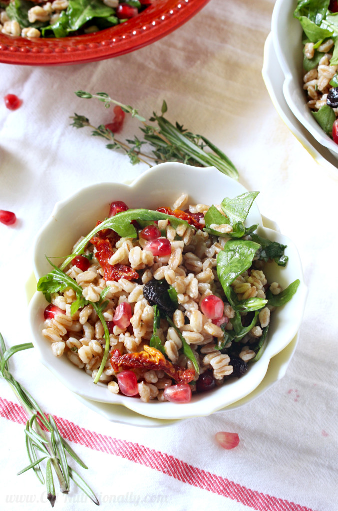 Fall Farro Salad with Pomegranate Seeds & Cranberries | C it Nutritionally