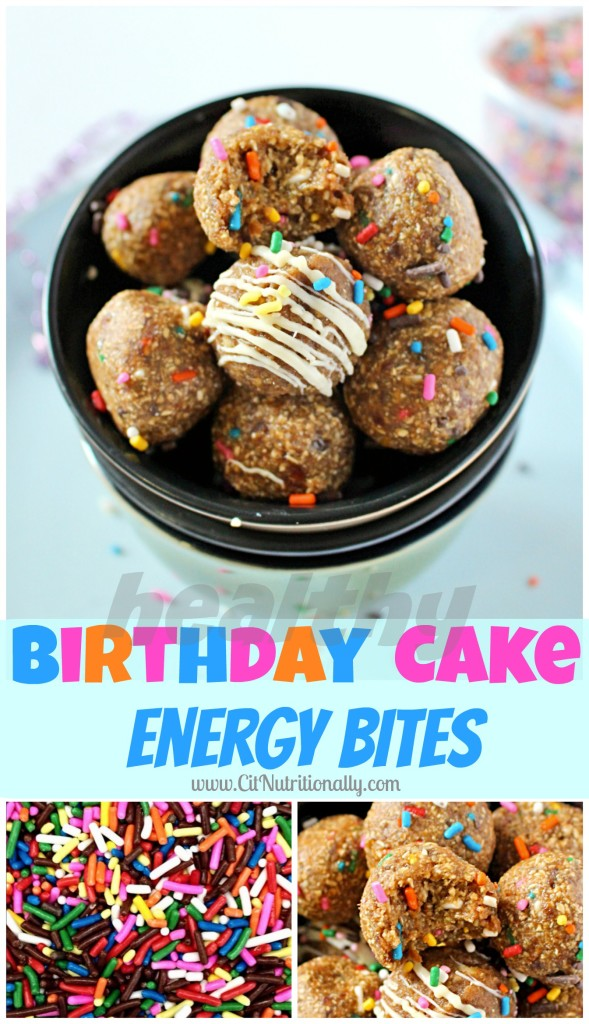 Healthy Birthday Cake Energy Bites | C it Nutritionally #vegan #glutenfree