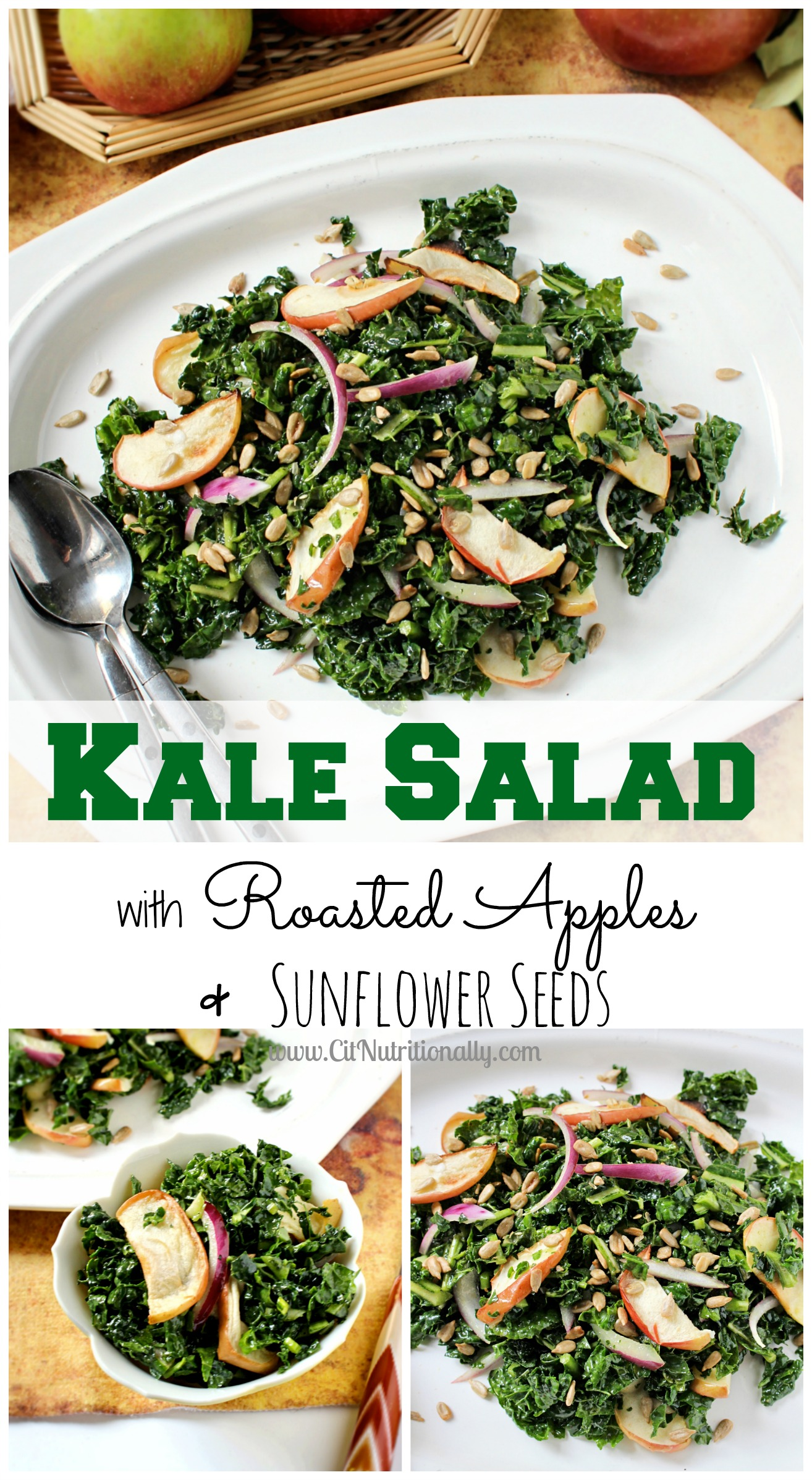 Kale Salad with Roasted Apples & Sunflower Seeds | C it Nutritionally