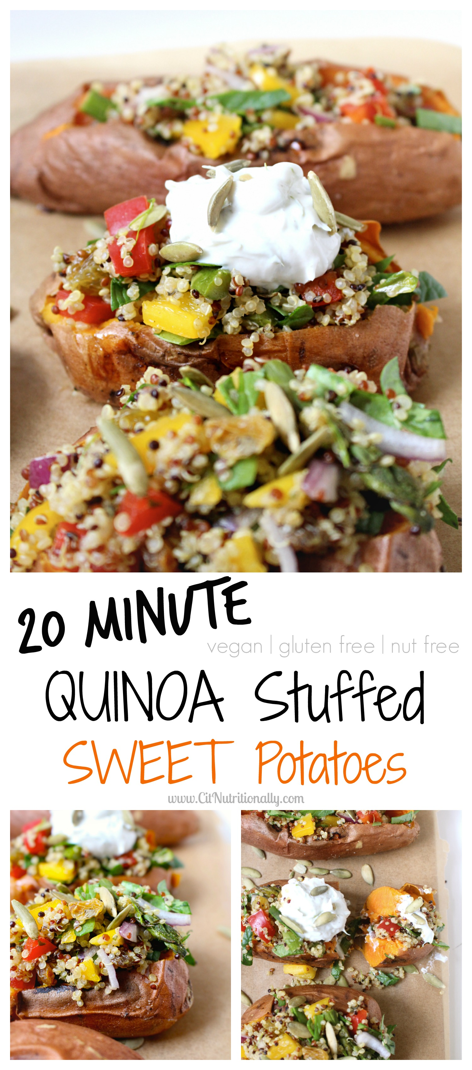 Comforting, flavorful, colorful and oh so good for you…Make weeknight cooking easy with these Quinoa Stuffed Sweet Potatoes…a healthy, plant-based meal you can get on the table in as little as 20 minutes! Vegan, gluten free, dairy free, nut free! Quinoa Stuffed Sweet Potatoes | C it Nutritionally