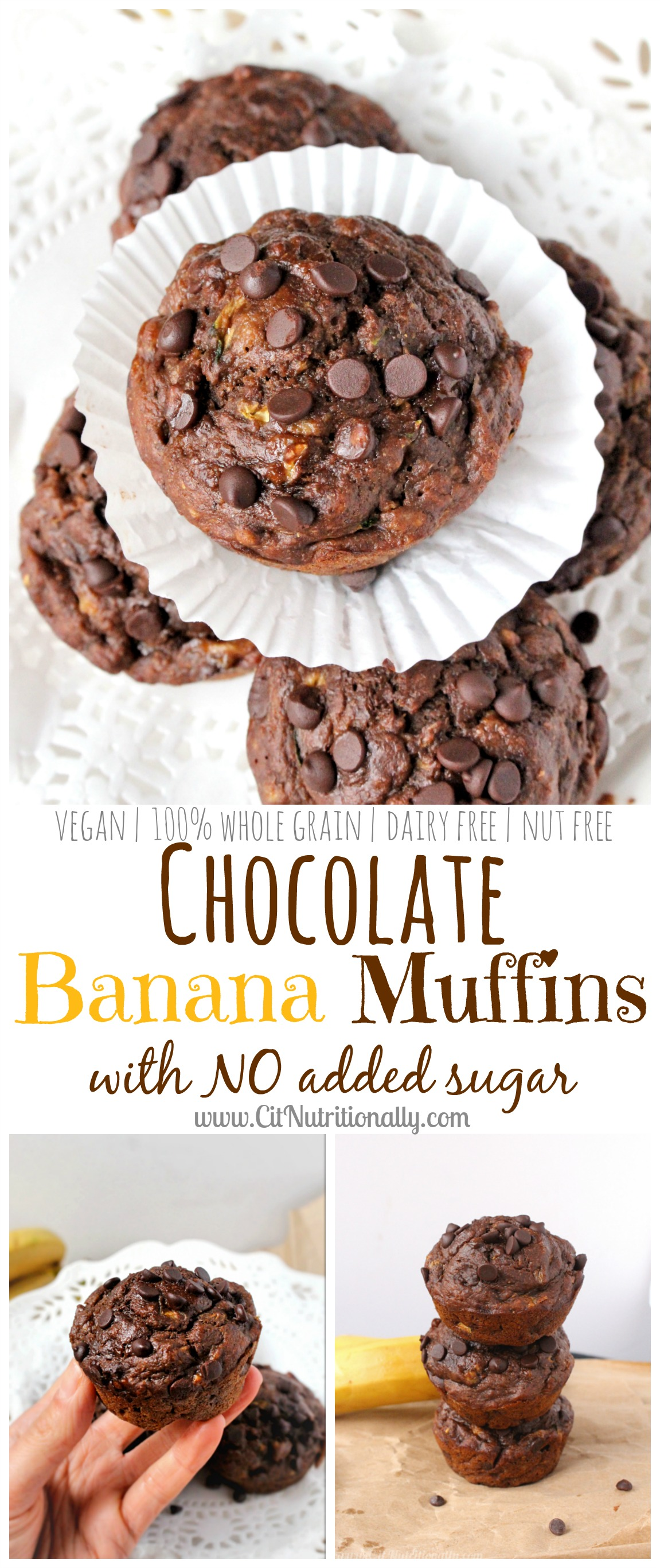 Vegan Chocolate Banana Muffins with No Added Sugar | C it Nutritionally #meatlessmonday #plantbased
