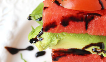 Watermelon Avocado Tomato Stack