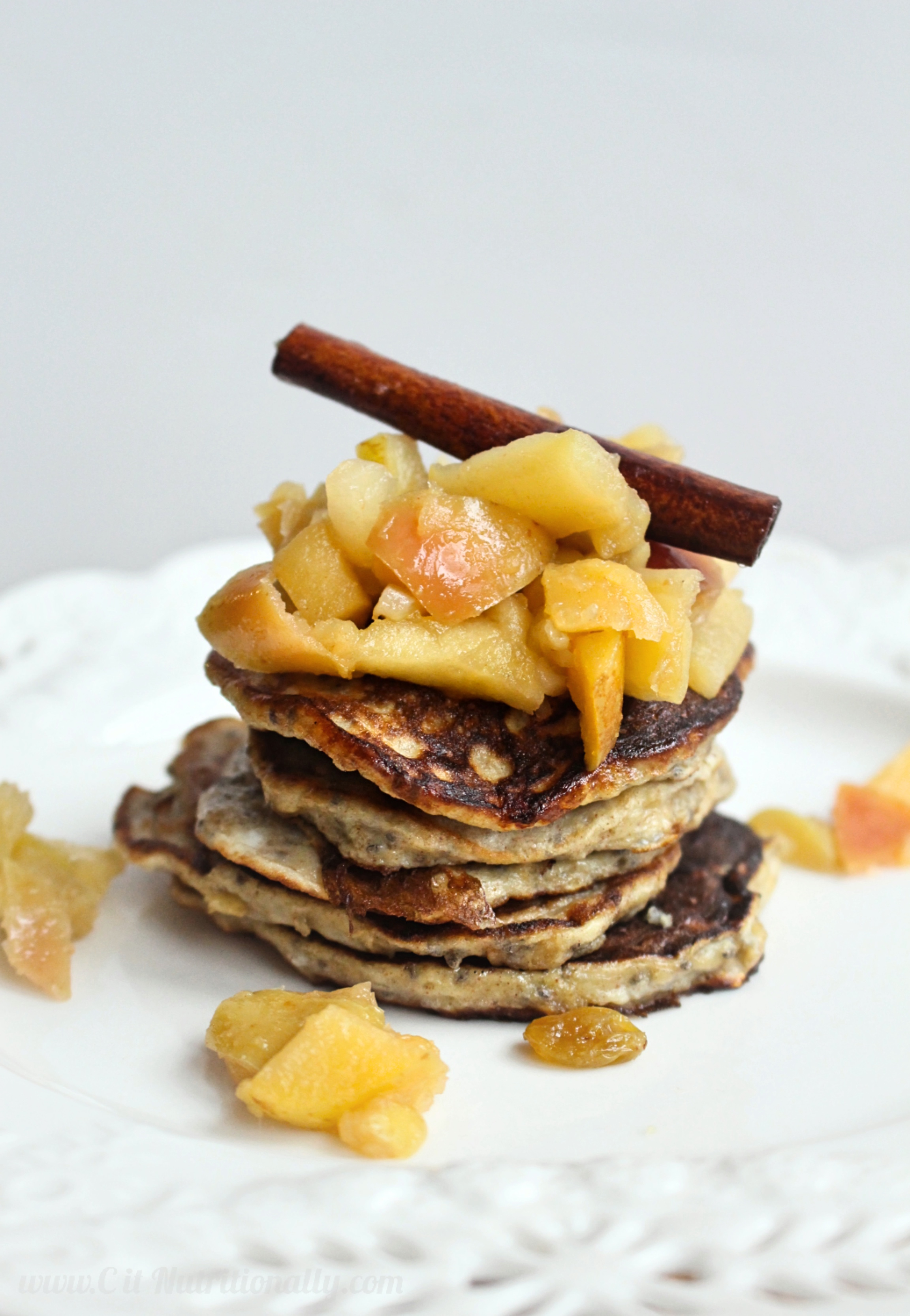Gluten Free Banana Pancakes with Apple Cinnamon Compote | C it Nutritionally
