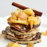 Celebratory Gluten Free Banana Pancakes with Apple Compote