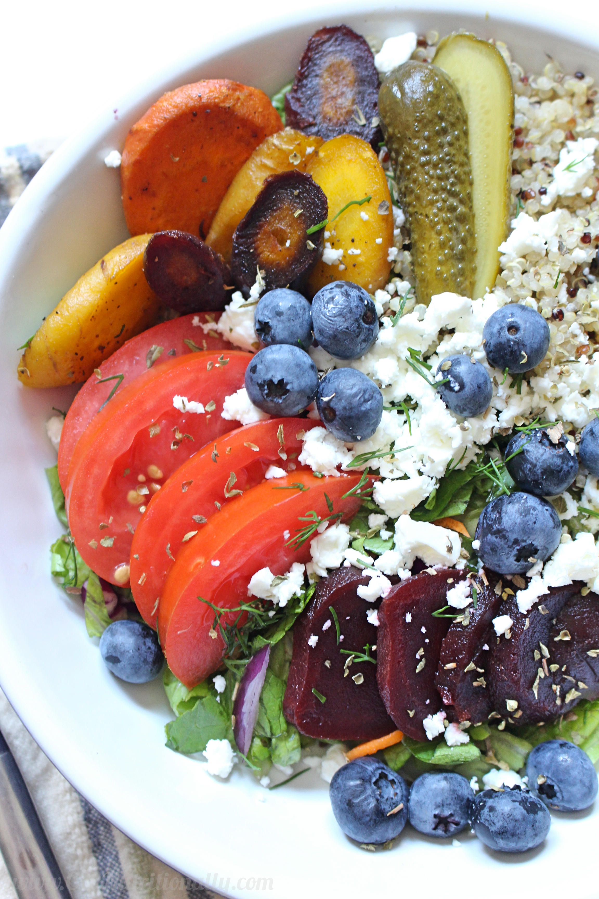Late Summer Roasted Greek Salad Quinoa Bowl for One | C it Nutritionally