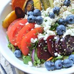 Late Summer Roasted Greek Salad Quinoa Bowl for One