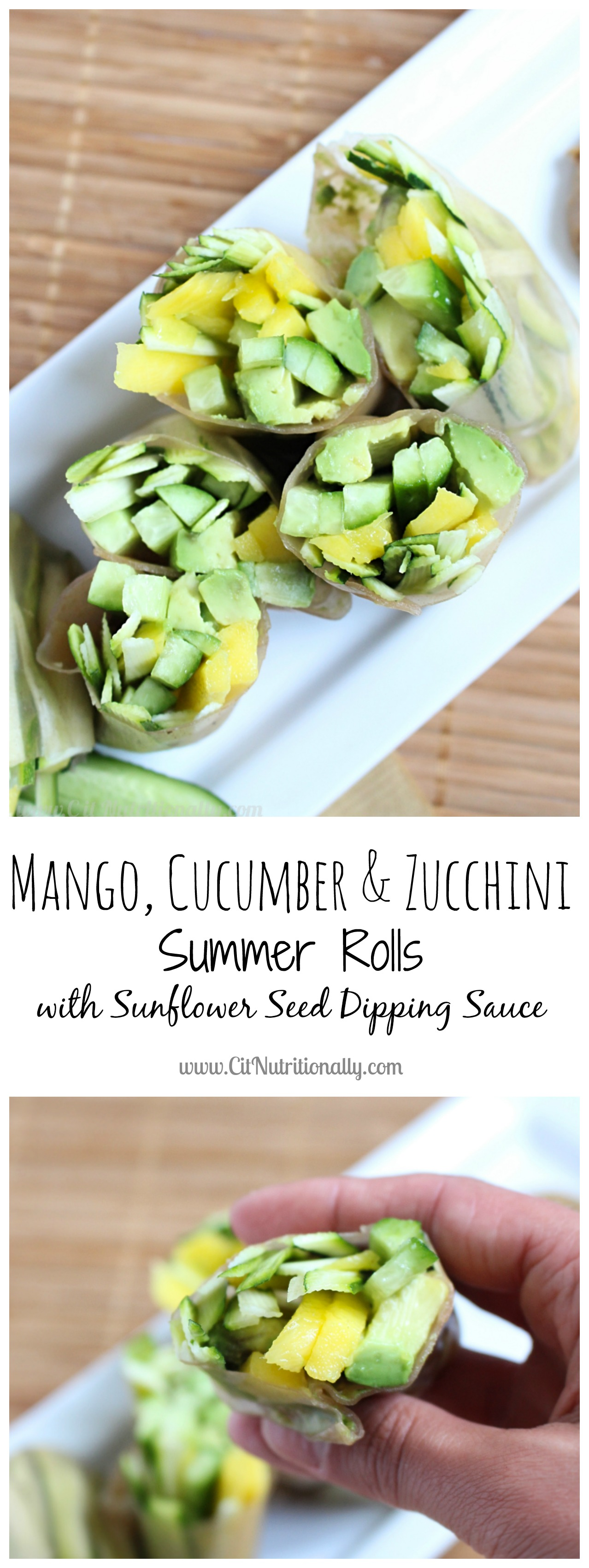 Mango, Cucumber & Zucchini Summer Rolls with Sunflower Seed Dipping Sauce | C it Nutritionally