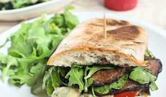 Grilled Portobello Mushroom and Arugula Sandwich with Garlic & Herb Spread