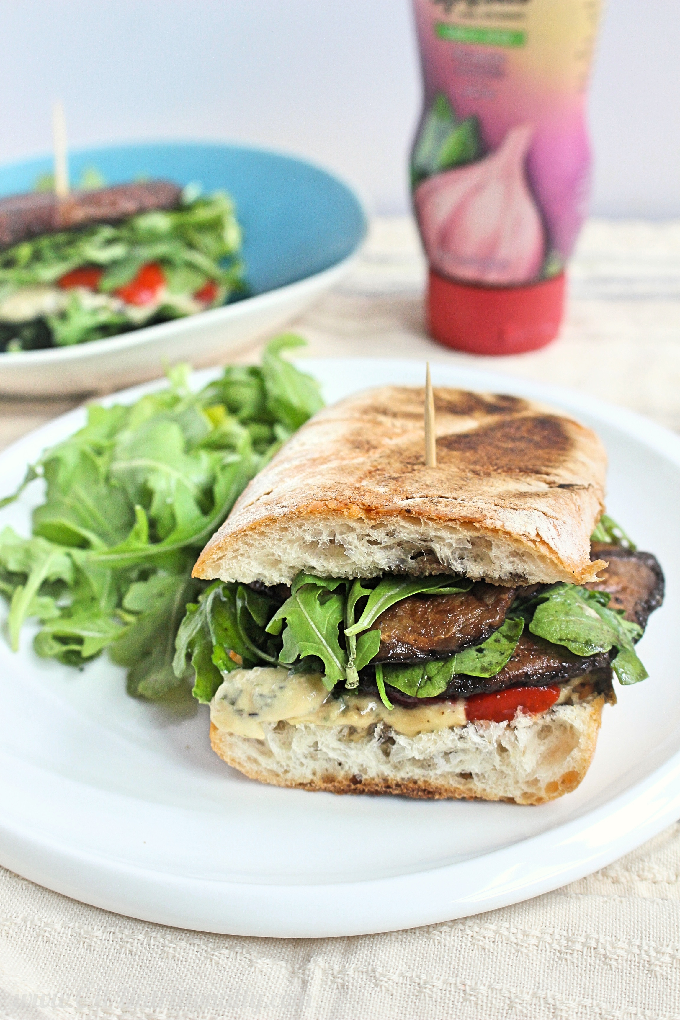 Grilled Portobello Mushroom and Arugula Sandwich with Garlic & Herb Spread | C it Nutritionally