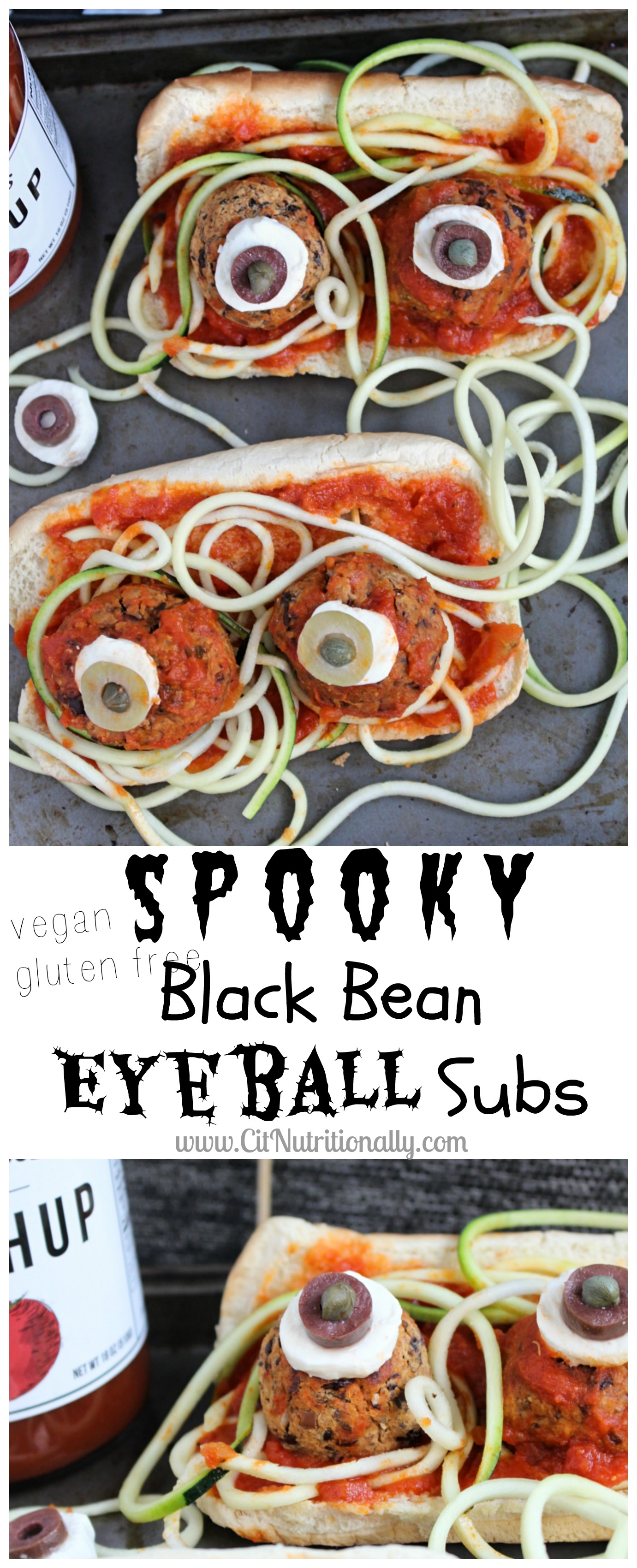 Spooky Black Bean Eyeball Subs | C it Nutritionally #sponsored