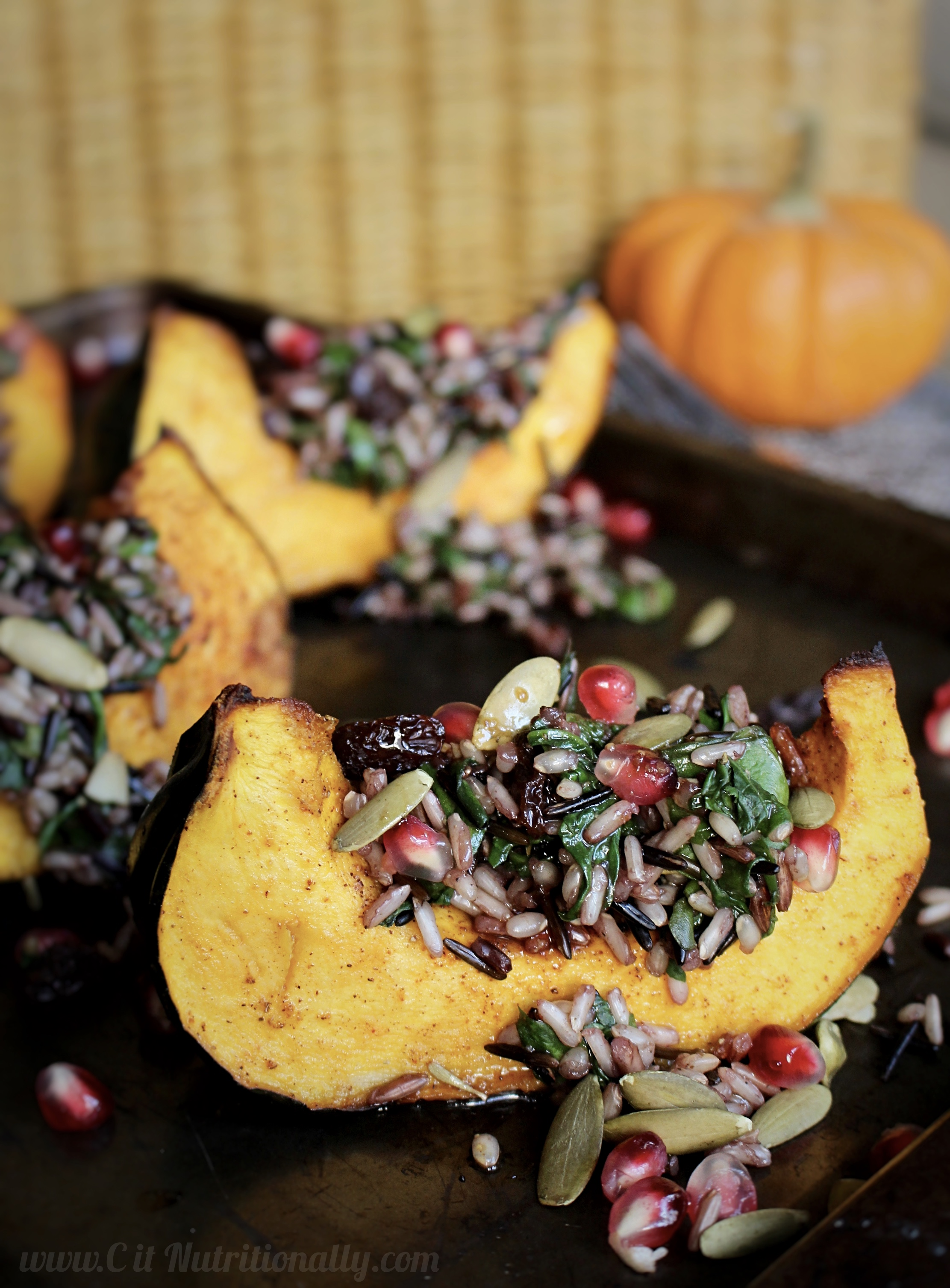 A great recipe your Thanksgiving table needs! Wild Rice and Acorn Squash Wedge Salad | C it Nutritionally #vegan #glutenfree #nutfree #peanutfree
