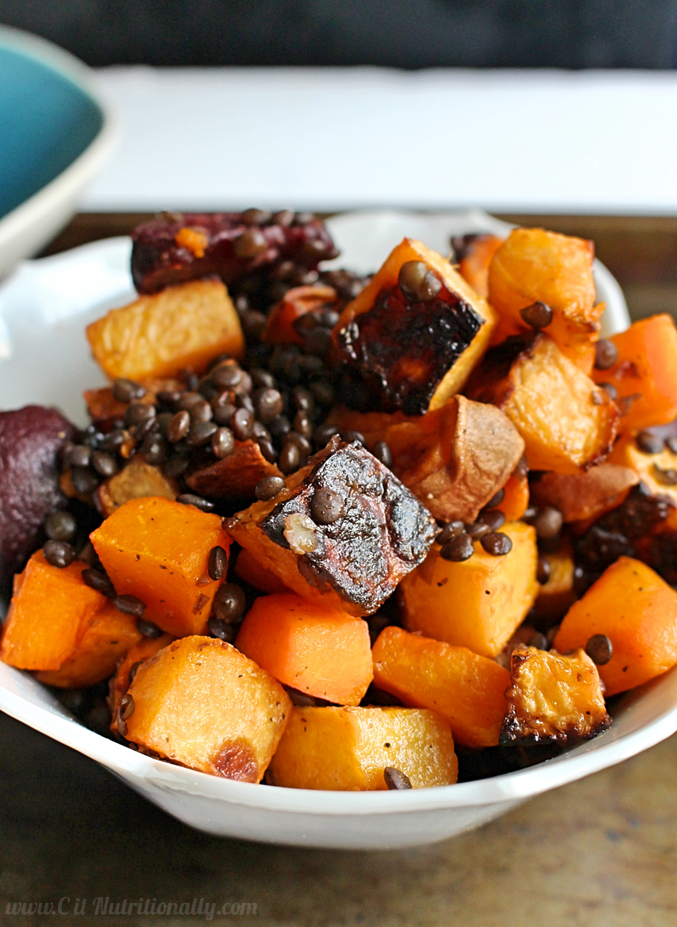 Warm Black Lentil and Root Vegetable Salad | C it Nutritionally Top 8 Allergen Free. Nut free. Egg free. Dairy free. Gluten free.