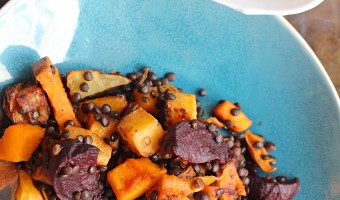 Warm Black Lentil and Root Vegetable Salad