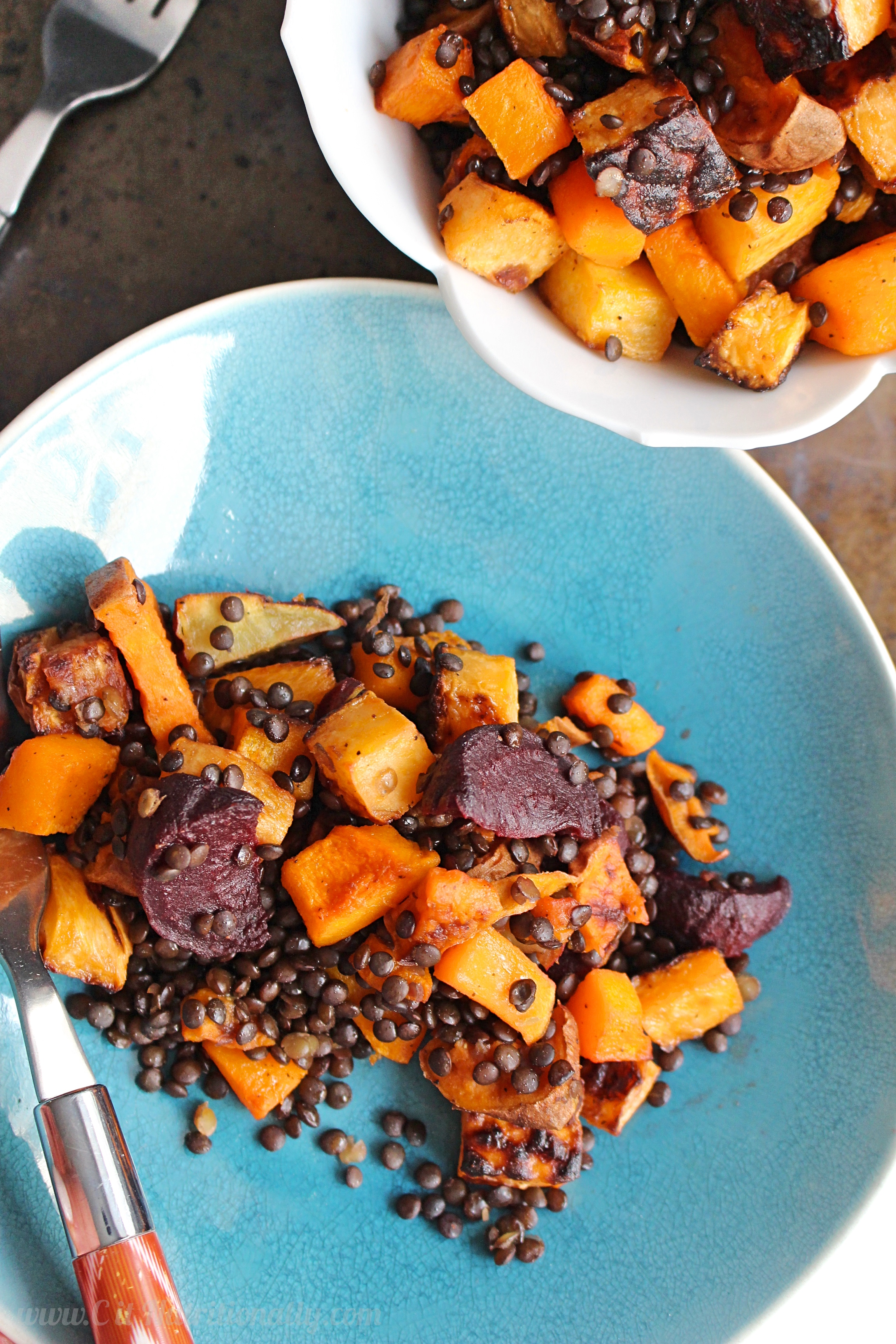 Warm Black Lentil and Root Vegetable Salad | C it Nutritionally