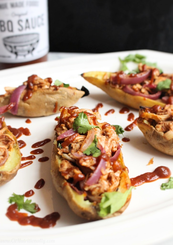 Still looking for the PERFECT Super Bowl appetizer to WOW your crowd?! These BBQ Chicken Stuffed Sweet Potato Skins are exactly what you need -- full of protein, fiber, and absolute deliciousness, this healthier take on a greasy classic will lead your body saying TOUCHDOWN on Monday! Gluten free, Grain free, Dairy free, Nut free, Soy free. | C it Nutritionally
