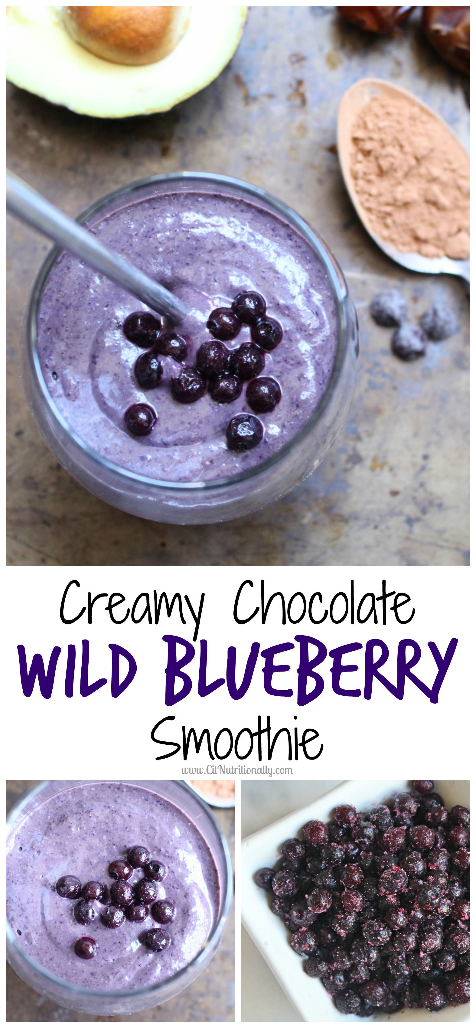 Creamy Chocolate Wild Blueberry Smoothie | C it Nutritionally #ad