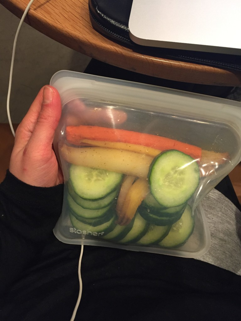 Snack time... Cucumber slices + roasted carrots in my Stasher Bag! What I Ate Wednesday 50 | C it Nutritionally