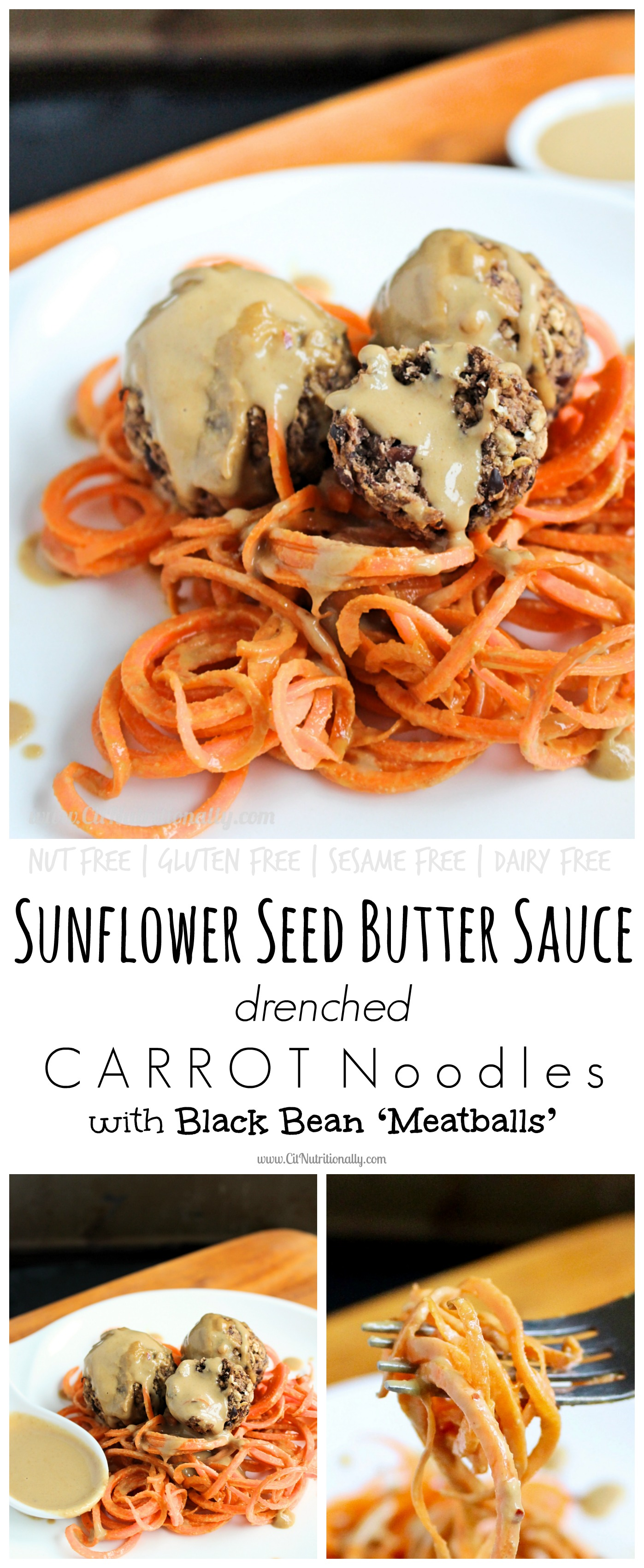 #ad Sunflower Seed Butter Sauce Drenched Carrot Noodles with Black Bean 'Meatballs'