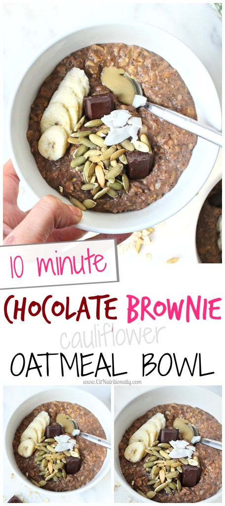 Who doesn't want to wake up to a warm, gooey, chocolatey bowl of brownie batter that's actually good for them and will nourish their body?! This 10 Minute Chocolate Brownie Oatmeal Bowl is exactly what you need to tackle chocolate cravings first thing AND provide tons of good for you nutrients with my secret ingredient! Vegan, Gluten free, Egg free, Nut free, Wheat free, Dairy free and Egg free options | 10 Minute Chocolate Brownie Oatmeal Bowl | C it Nutritionally