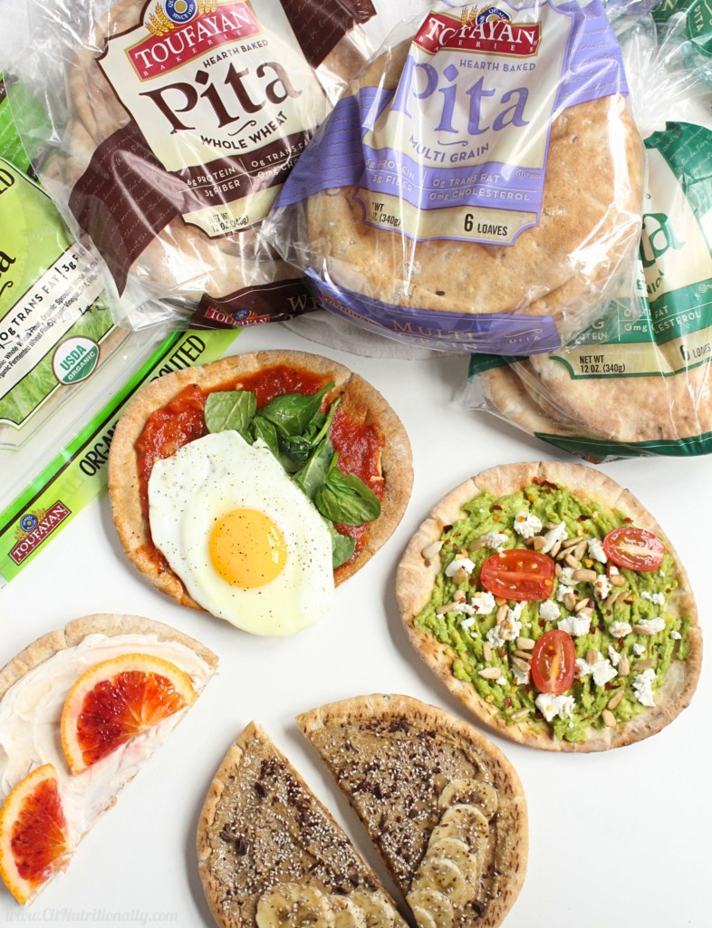 #ad With savory, sweet, salty and spicy flavors, there's something for everyone with this fun DIY Customizable Breakfast Pita Pizza bar, perfect to feed a crowd breakfast for dinner! Vegetarian, Vegan options, Dairy free options, Egg free options, Nut free, Peanut free | Customizable Breakfast Pita Pizza - 4 Ways | C it Nutritionally