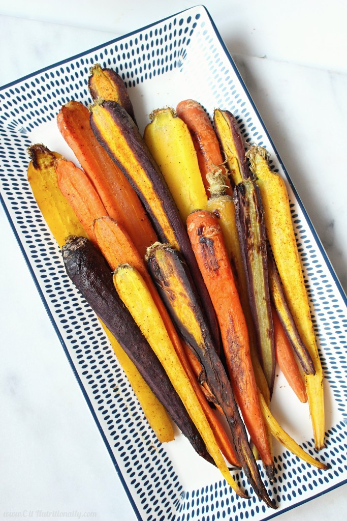 Easy Roasted Carrots | C it Nutritionally If you're looking to boost your veggie intake there's no better way than with these naturally sweet, just browned and addictive Easy Roasted Carrots. They're a food prep staple in my kitchen! Free of top 8 food allergens. Vegan, Gluten free.