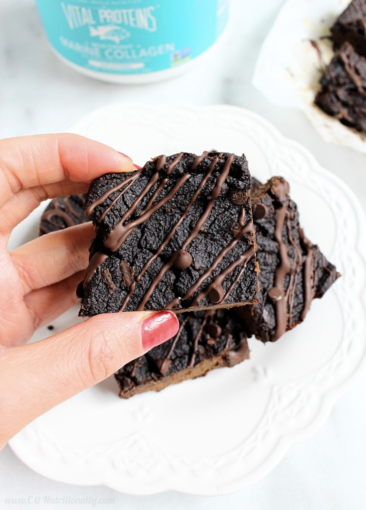 Grain Free Fudgy Avocado Brownies {Vegan + Paleo} | C it Nutritionally Fudgy, gooey chocolatey brownies are a family favorite and now everyone in your family can healthfully enjoy the chocolatey goodness with these Grain Free Fudgy Avocado Brownies that just so happen to be vegan and paleo! Free from the top 8 food allergies, Gluten free, Dairy free