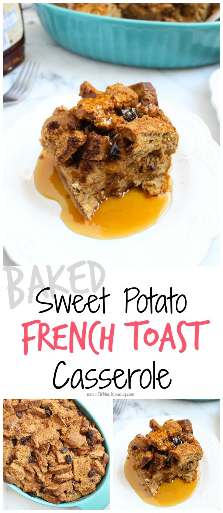 Spring clean your pantry and make this Baked Sweet Potato French Toast Casserole that is full of whole grains, ingredients you likely have on hand and makes for the most delicious brunch ever! Vegetarian, Dairy free, Nut free, Peanut free Baked Sweet Potato French Toast Casserole | C it Nutritionally