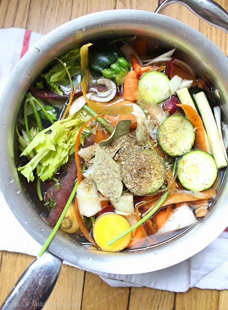 No Waste Homemade Vegetable Broth | C it Nutritionally Use up scraps and make a delicious homemade vegetable broth at the same time! This flexible recipe is perfect to let simmer while you take care of other food prep or things around the house!
