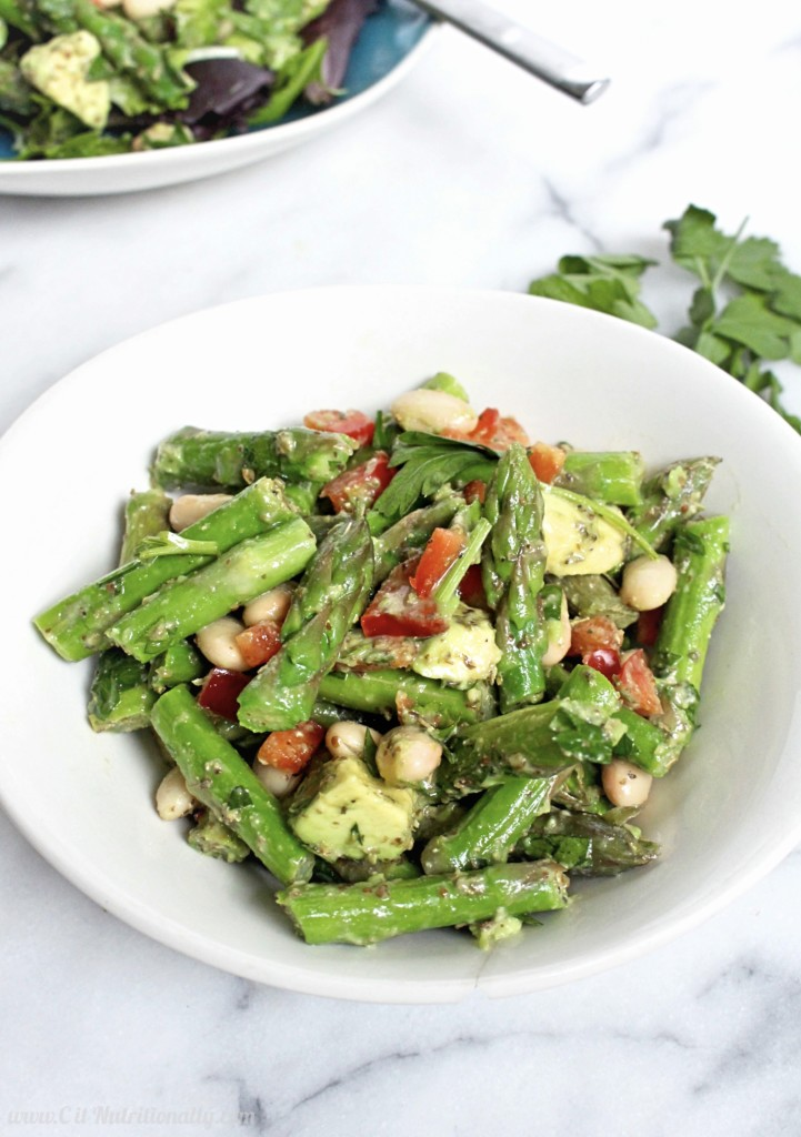 Asparagus and White Bean Salad with Dijon Dressing | C it Nutritionally | Refreshing, filling and full of spring flavors, this Asparagus White Bean Salad with Dijon Dressing contains plant based protein and fiber for a nourishing and filling lunch that can be made days in advance! Vegan, Gluten free, Grain free, Nut free, Egg free, Dairy free