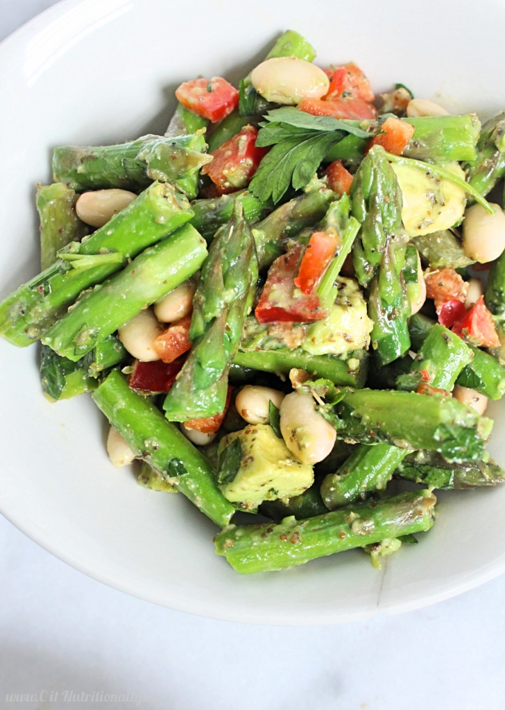 Asparagus White Bean Salad with Dijon Dressing | C it Nutritionally Refreshing, filling and full of spring flavors, this Asparagus White Bean Salad with Dijon Dressing contains plant based protein and fiber for a nourishing and filling lunch that can be made days in advance! Vegan, gluten free, grain free, dairy free, nut free