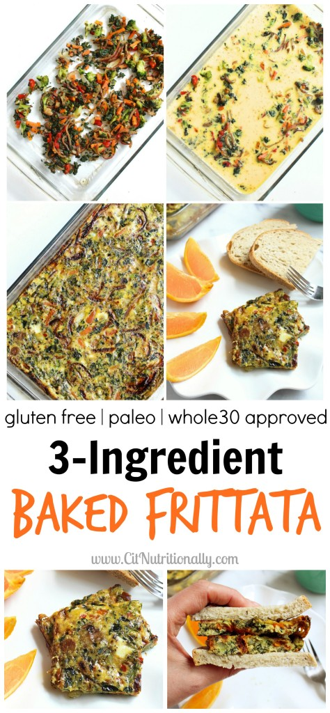 3-Ingredient Baked Frittata | C it Nutritionally Quick and easy for busy mornings, this 3-Ingredient Baked Frittata makes breakfast excuses a thing of the past! Vegetarian, Gluten free, Grain free, Nut free, Soy free