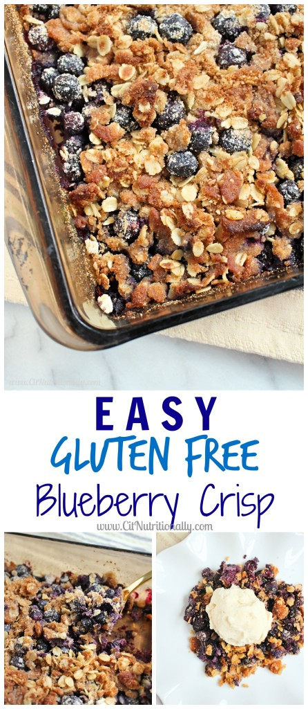 Easy Gluten Free Blueberry Crisp | C it Nutritionally Simple, delicious and fresh, this Easy Gluten Free Blueberry Crisp is going to become your go-to dessert of the summer!