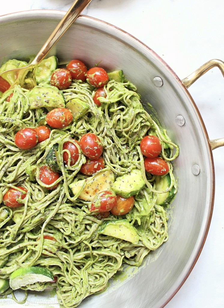 Creamy Avocado Pasta with Cherry Tomatoes and Zucchini | C it Nutritionally This easy, dairy free creamy avocado pasta is sprinkled with fresh summer cherry tomatoes and zucchini, and full of flavor in a meal you can whip up in less than 20 minutes! Dairy free, Nut free, Egg free, Gluten free, Grain free, Oil free