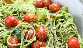 Creamy Avocado Pasta with Cherry Tomatoes and Zucchini