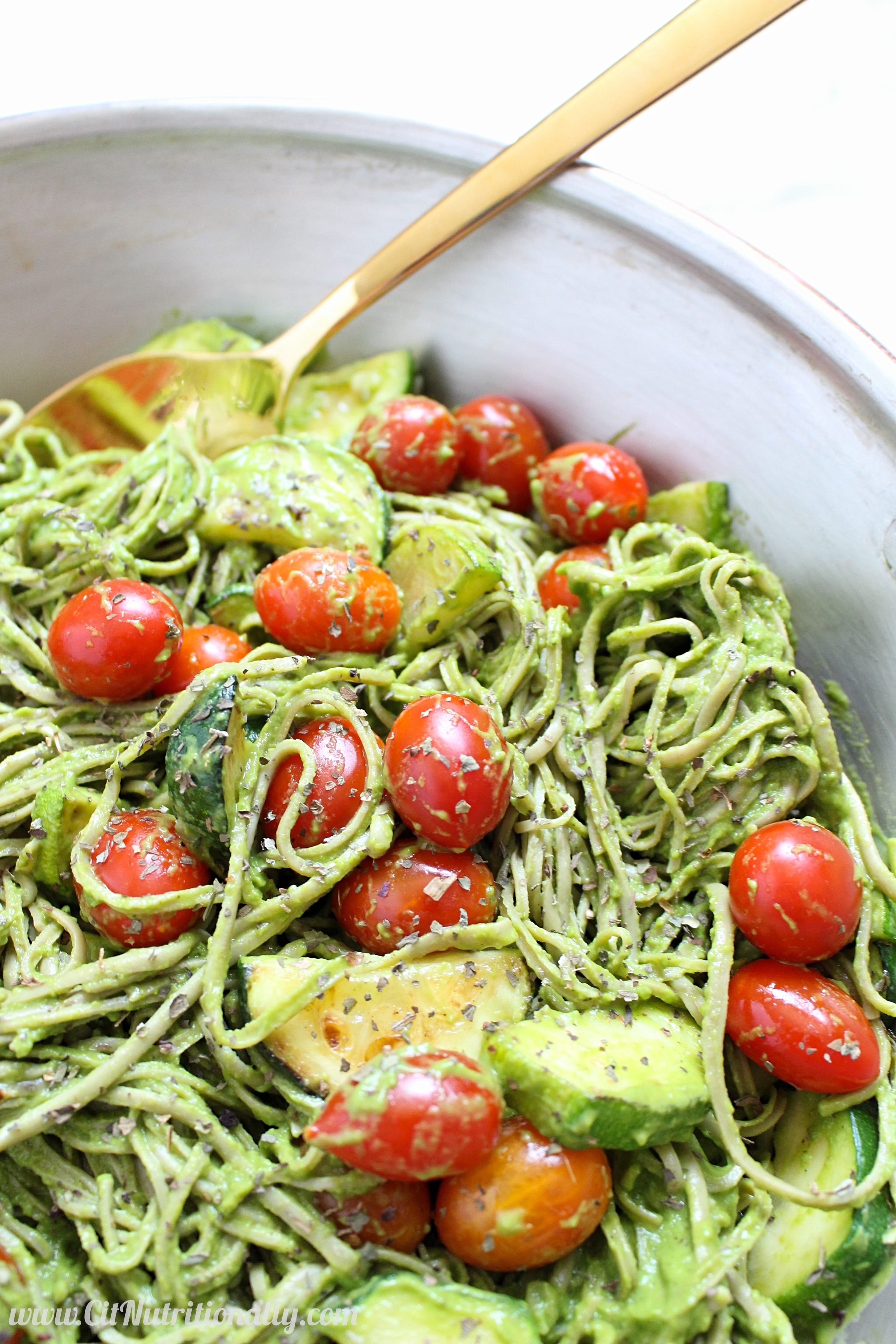 dairy free creamy avocado pasta with cherry tomatoes and zucchini. Black Bedroom Furniture Sets. Home Design Ideas