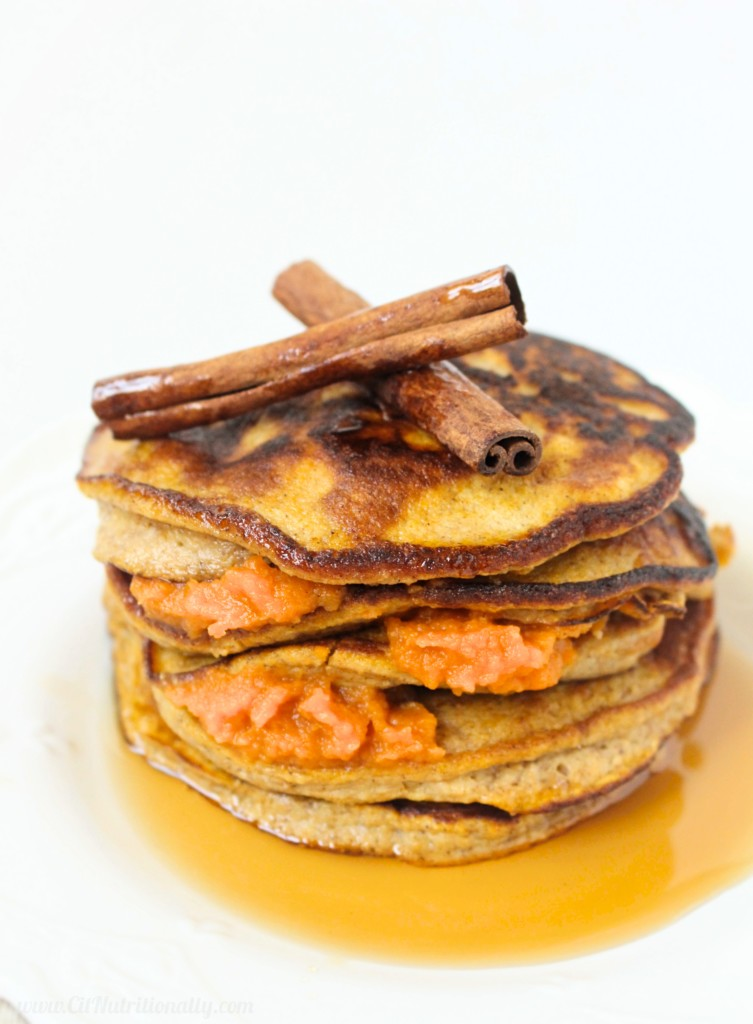 Grain Free Pumpkin Pancakes | C it Nutritionally | Made with pure pumpkin puree, cinnamon, and pantry staples, this stack of Grain Free Pumpkin Pancakes will satisfy all fall cravings, with nutritious punch of fiber and protein! Grain Free | Gluten Free | Nut Free & Peanut Free | Dairy Free