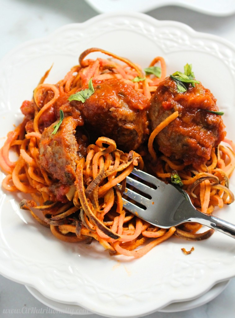 AD | Sweet Potato 'Spaghetti' and Meatballs | C it Nutritionally If you're looking for healthier comfort food fit for your entire family, look no further than my Sweet Potato Spaghetti and Meatballs, made in 30 minutes with less than 5 ingredients!
