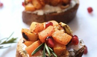 Butternut Squash and Herbed Goat Cheese Crostini
