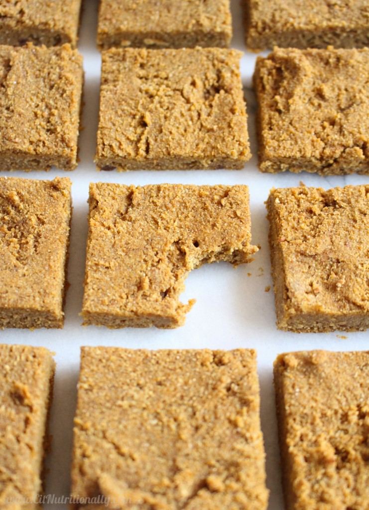 Gluten Free Chai-Spiced Pumpkin Blondies   C it Nutritionally Gooey, flavorful, chai-spiced pumpkin blondies that just so happen to appeal to all food allergies?! Yes, please! Grab a square that just so happen to be gluten free and vegan, but taste all kind of deliciousness! Nut Free, Gluten Free, Grain Free, Egg Free, Dairy Free, Soy Free; Contains coconut